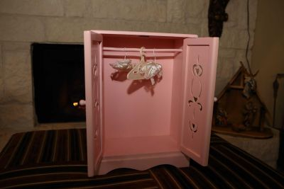 American Girl Pink Doll Dresser wooden with 3 hangers
