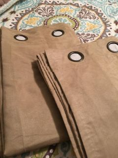 Tan suede curtain pair never used