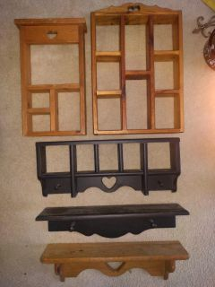 Wooden shelves & shadow boxes