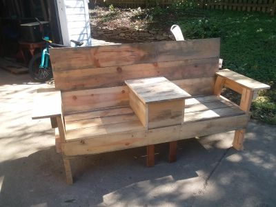 Wood bench with table