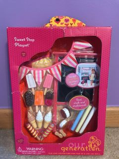 Brand new unopened, box isn t perfect, but item not affected! Perfect for Christmas. OG Sweet Shop Playset for 18in dolls.