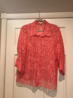 Beautiful peach, light weight shirt style jacket. Excellent condition.Rarely worn.