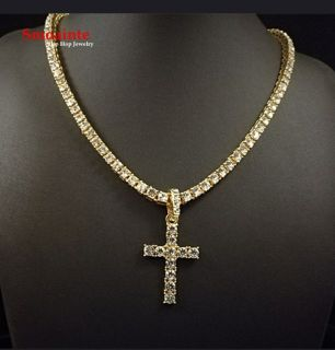 Bling chain and cross 18k gold filled 5mm 24""