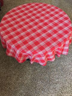 56 round Red Plaid Tablecloth