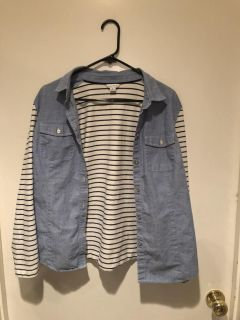 All in 1, vest with striped long sleeve shirt