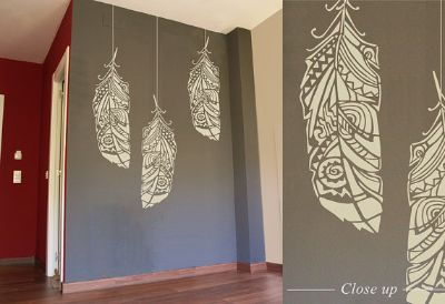 Forest Feather stencil - Feather tribal stencil