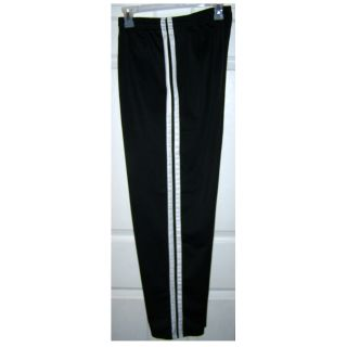 Size Medium - Men's Black with White Stripes Pull-on Pants with Draw String, Athletic, Jogger, Track, Lounge