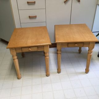 Wood end tables $35.00 for both