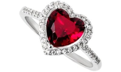 CLEARANCE ***BRAND NEW***RED Heart Cut Halo Ring***SZ 7