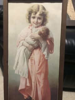 Vintage painting. Girl with her doll.