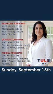 Iowa Town Calls today with Tulsi Gabbard