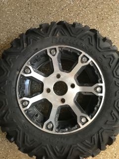 2 Bighorn 20 Maxxiz 27x9.00 R 14 radial tires and rims fit arctic cat wildcat