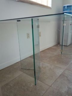 Dining Table glass with glass base.