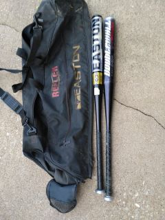 Easton bat bag and two bats