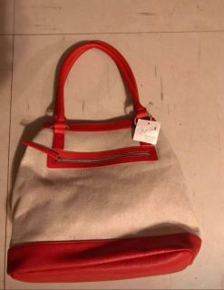 New Jaclyn Smith Collection-tangerine & Beige Purse 12 Tall handle is 9 14 long & 7 Wide New