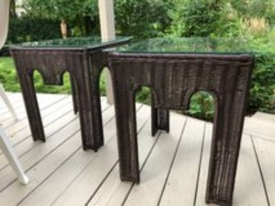 : ) Patio All Weather Wicker End Tables