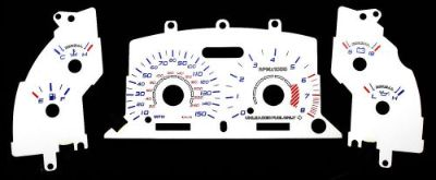 Sell 150MPH Euro White Face Glow Gauge EL Indiglo Overlays For 96-98 Ford Mustang GT motorcycle in Monterey Park, California, United States, for US $24.99
