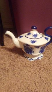 Teapot blue and white porcelain
