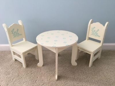 Hand-Painted Cream & Blue Doll Furniture