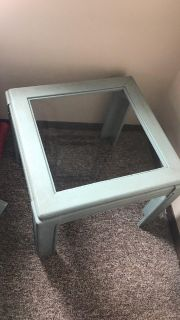 Annie Sloan painted distressed! glass/ wood side table