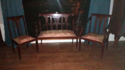 Furniture Antique Settee and Chairs