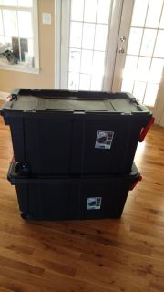 """2 Large storage bins on wheels with handle measure 36 3/4"""" long, 21 3/8"""" wide and 18"""" high"""