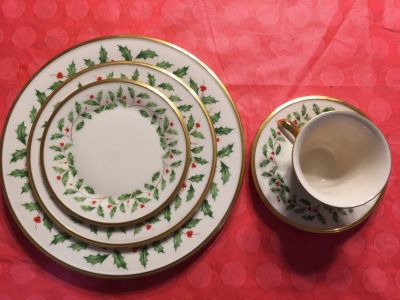 Antique Lenox Holiday China, 4 5-piece place settings