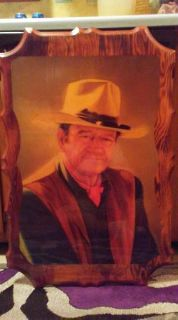 LARGE VINTAGE WOODEN JOHN WAYNE WALL PLAQUE