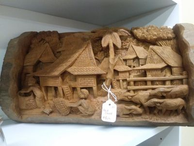 Wood Carved Village Amazing Detail, Hanging