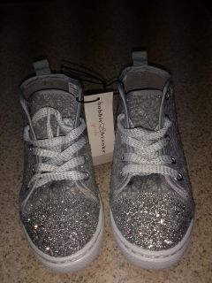 NWT. Girls Silver Bling Tennis Shoes size 12