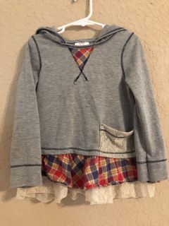Grey with plaid and lace hooded Tunic Freckles & Kitty Boutique Brand. Size Large. Nice Condition