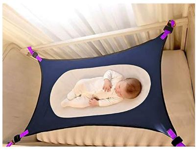 Baby Crib Hammock Gray w/ purple straps & buckles
