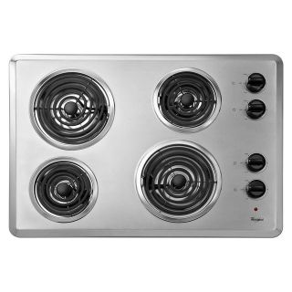 "Whirlpool 30"" Coil Electric Cooktop Chrome 4 Elements WCC31430AR"