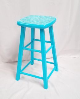 Turquoise wooden stool with painted seat