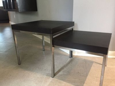 2 Black and Chrome Nesting Tables/Coffee Table 2 levels/Separate Tables