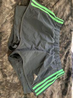 Grey and green adidas shorts