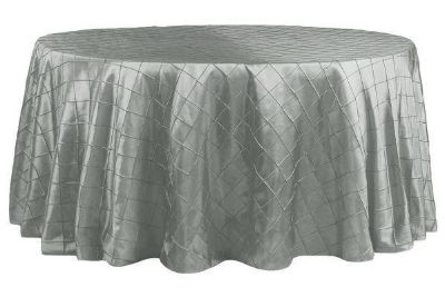 "Silver Taffata Table Cloths - 120"" Round"