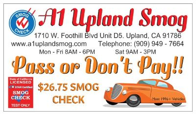 A1 Upland Smog Star Certified Test Only ** Pass or Don't Pay!! ** $26.75 Smog Check!