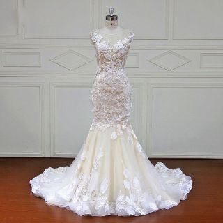 Julie's Lace Mermaid Cap Sleeves Wedding Dress