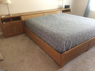 Storage bed frame and night stands