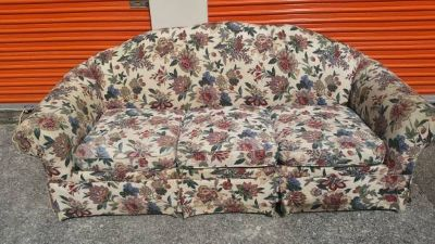 Nice couch with floral pattern. Well-built and heavy