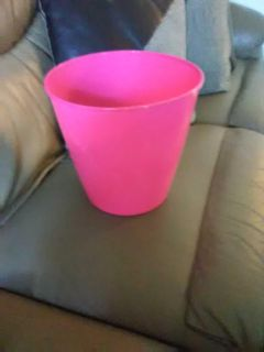 Nearly New Pink garbage can plastic 9 inches tall