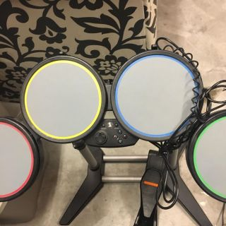Drum set with foot pedal