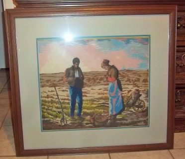 "Framed picture of Farmers frame size 28"" X 32"" with glass in needlepoint"