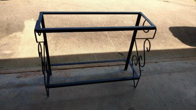 "Wrought iron fish tank stand measures 36 1/2"" wide, 12 1/2"" deep and 30"" tall"