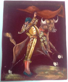 Early 1950's Vintage Matador and Bull Velvet Painting