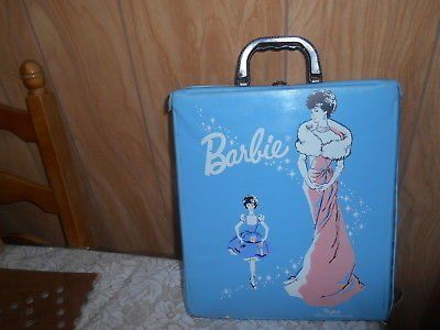 Vintage 1962 Mattel Barbie Doll Blue Vinyl Case Trunk Wardrobe! Ponytail
