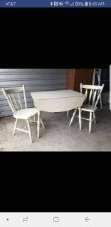 Vintage drop leaf table and 2 chairs