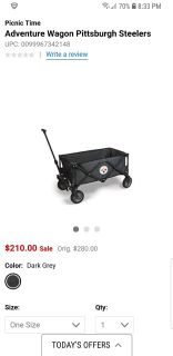 Brand new NFL picnic time foldable adventure wagon Pittsburgh steelers