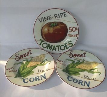 NEW Home Trends Farm Fresh Salad Plates Corn & Tomato Set of 3 $5.00 for all